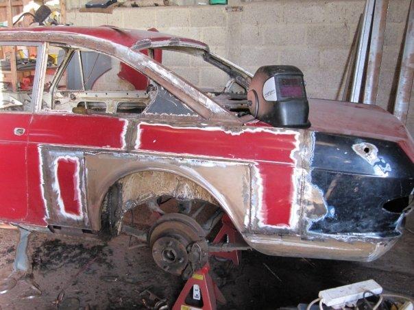 Lancia Flavia nearside rear wing rebuild