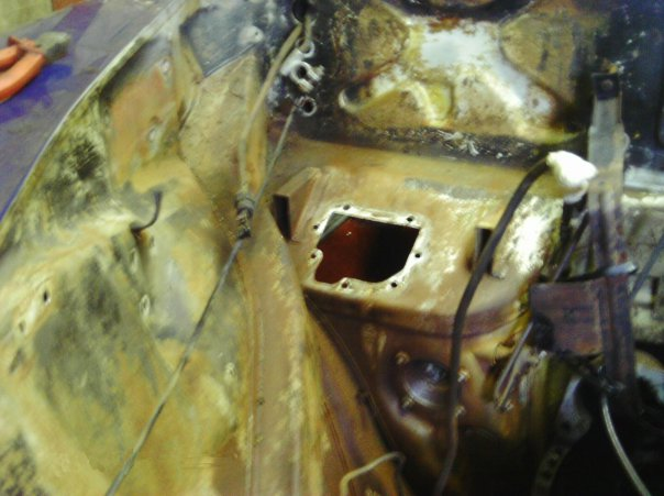 Jaguar engine compartment before restoration